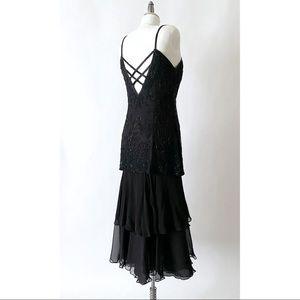 Niteline Silk Beaded Tiered Dress in Black Sz 6